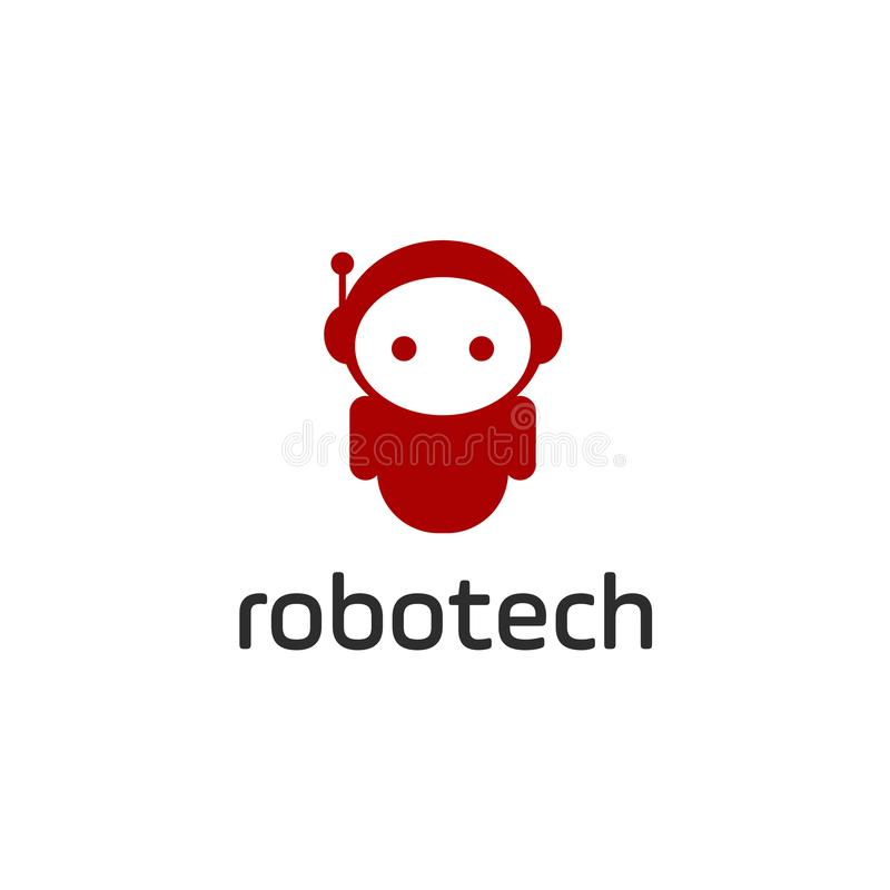 Smart robotlogomall Gullig logotyp som isoleras på vit bakgrund Framtida teknologitema Vektorbegreppssymbol vektor illustrationer