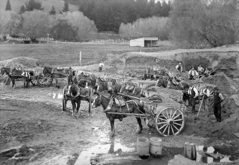 Smart`s Shingle Pit & Draught Horses, Spreydon, Christchurch. stock photography