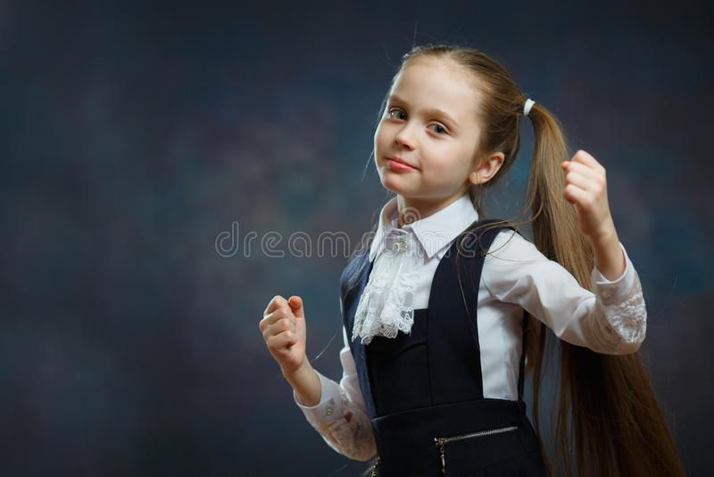 Smart School Girl in Uniform Closeup Portrait royalty free stock image