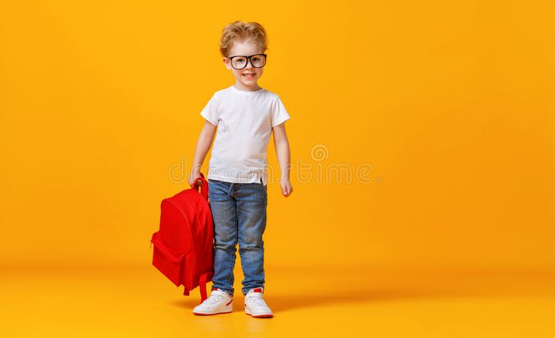 Smart schoolboy with backpack smiling stock images