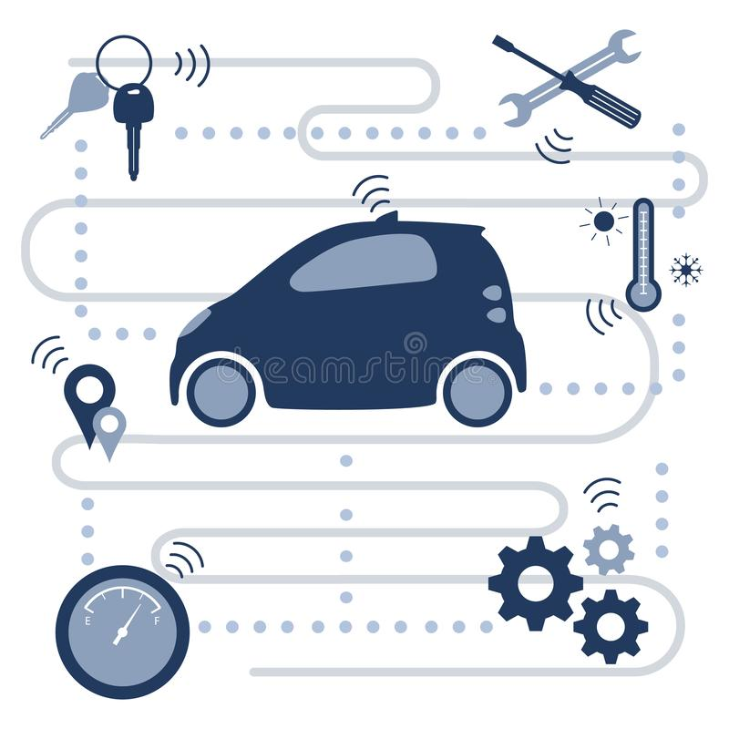 Smart driverless car New transport technologies. Smart self-driving car transfer of information about its condition: location, amount of fuel, temperature royalty free illustration