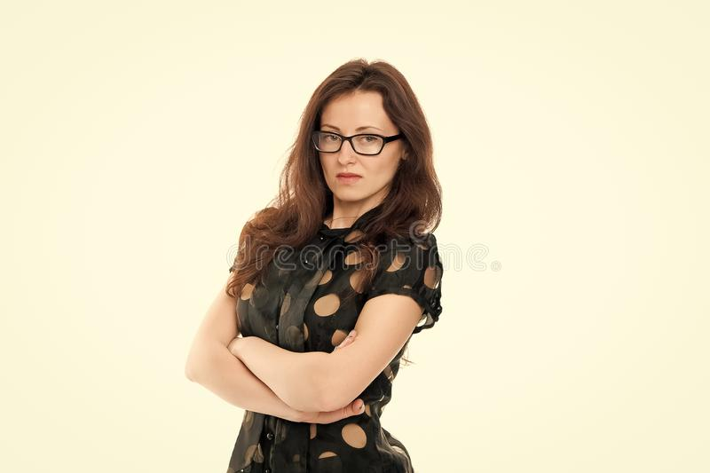 Smart and serious. Business lady smart office manager. Girl wear formal clothes white background. Female business. Concept. Confident business manager. Woman stock image