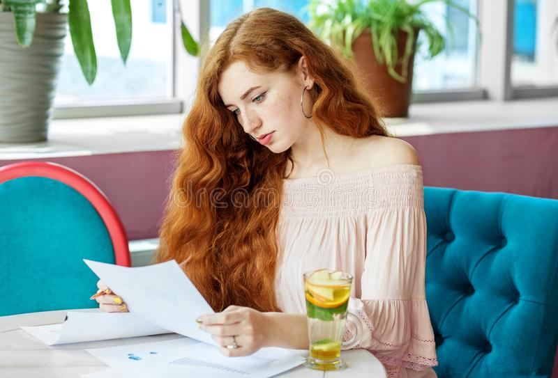 Smart serious woman looks at the financial result of the firm. The concept of work, business, education, freelance, lifestyle.  royalty free stock photos