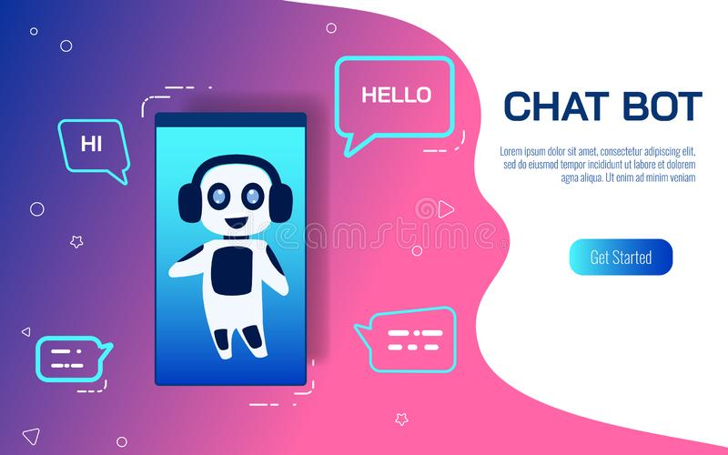 Smart service för service med konstgjord intelligens Faktisk hjälp av websiten eller mobila applikationer Prata botAI-begreppet royaltyfri illustrationer