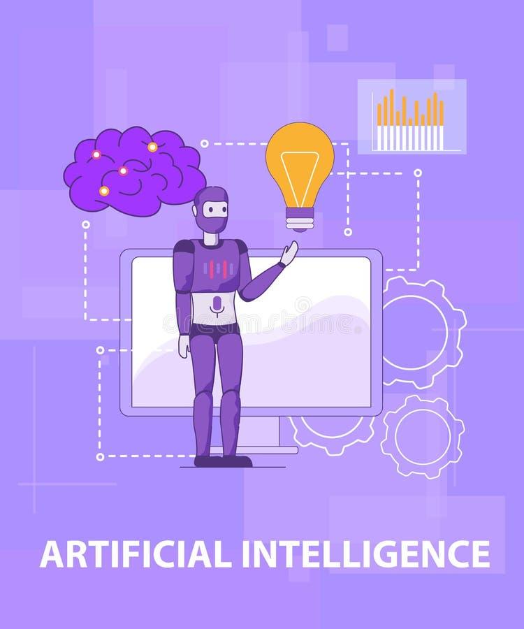 Smart själv för prov som lär konstgjord intelligens vektor illustrationer