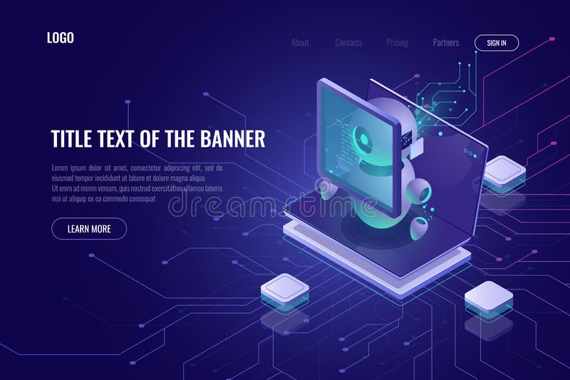 Smart smm concept isometric, setting of digital advertising parameters, robotic with laptop and graphics chart, screen stock illustration
