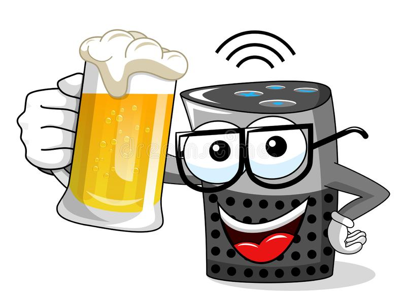 Smart speaker cartoon funny mug of beer isolated. On white royalty free illustration