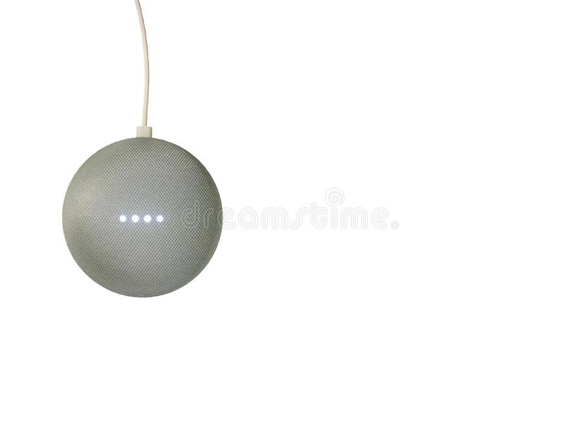Smart speaker isolated on a white background. Left side. stock photo