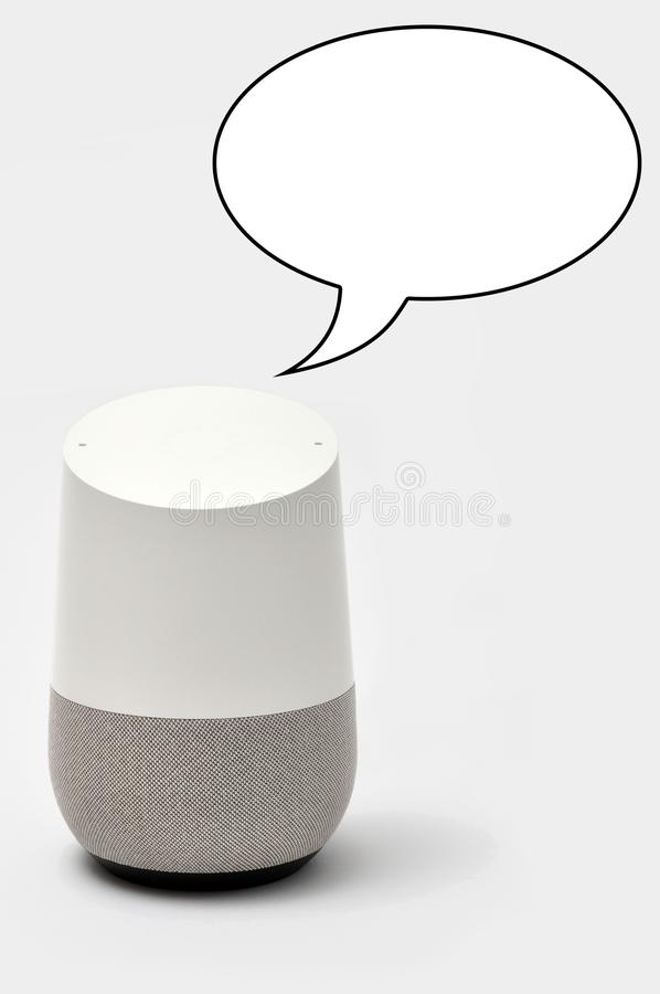 A Smart Speaker with a speech bubble stock photography