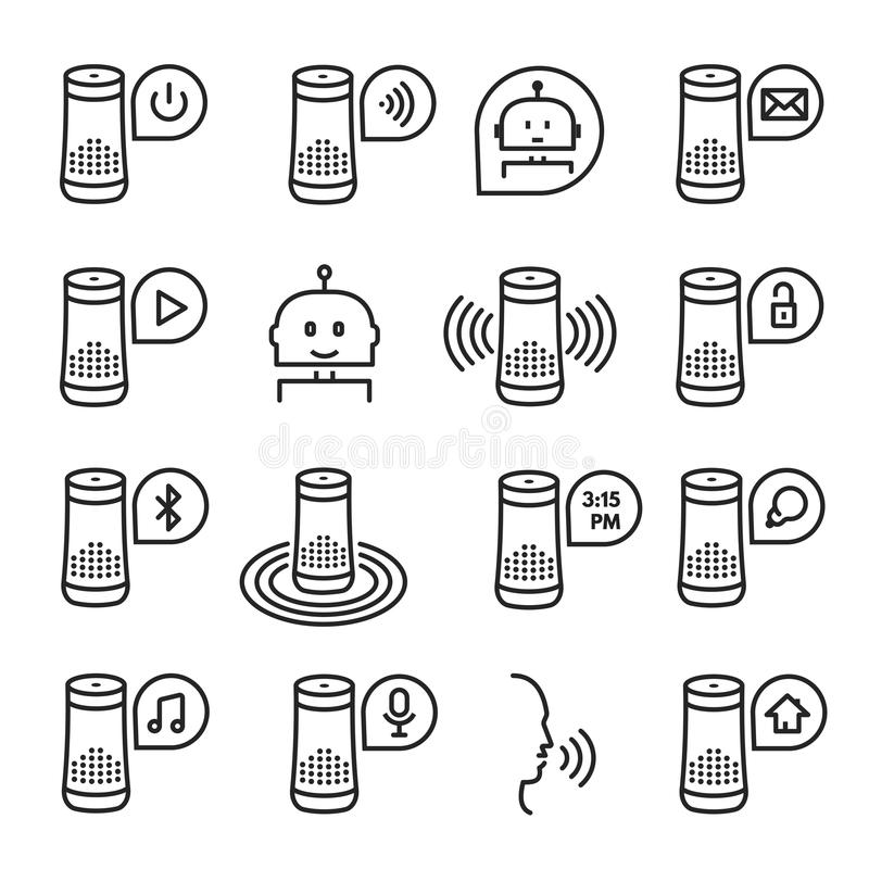 Smart speaker vector icon set isolated from background stock illustration