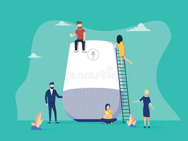 Smart speaker with virtual assistant concept vector illustration of people standing near speaker symbol using smartphone. And tablet. Flat group of women and royalty free illustration
