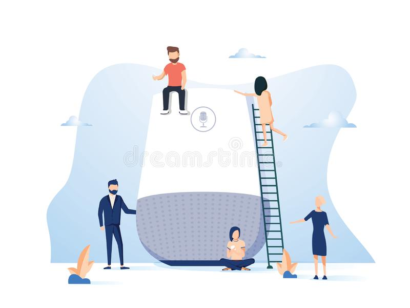Smart speaker with virtual assistant concept vector illustration of people standing near speaker symbol stock illustration