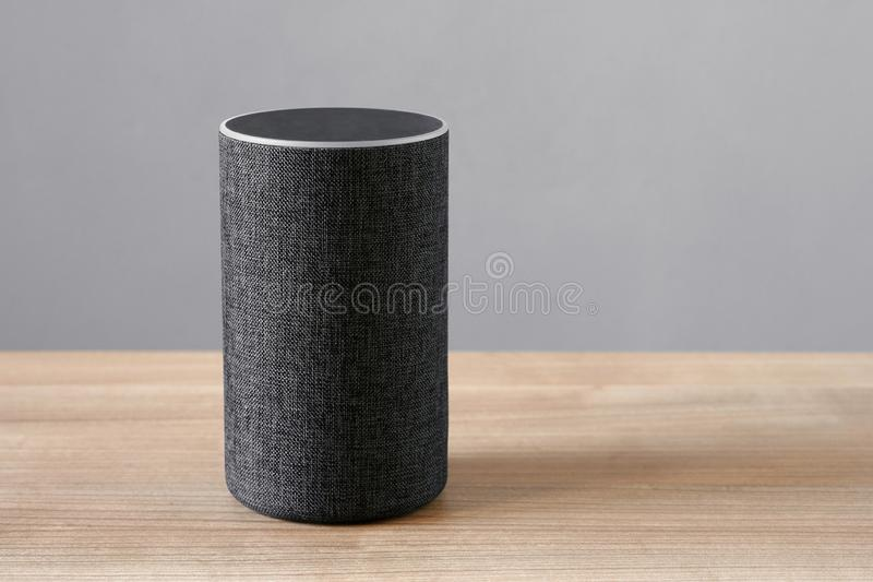 Smart speaker virtual assistant for smart home stock photo