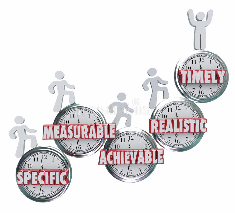 SMART Specific Measurable Achievable Realistic Timely Goals Objective stock illustration