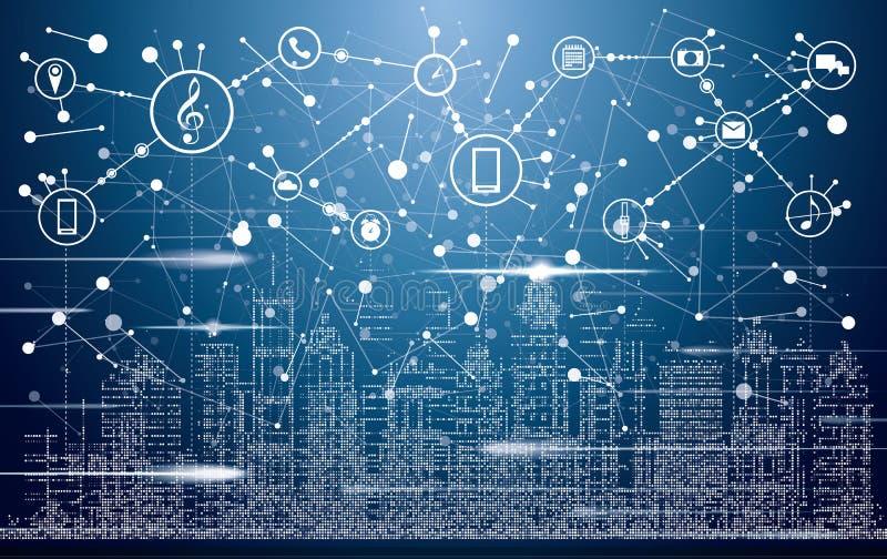 Smart stad med neonbyggnader, nätverk och internet av saker royaltyfri illustrationer