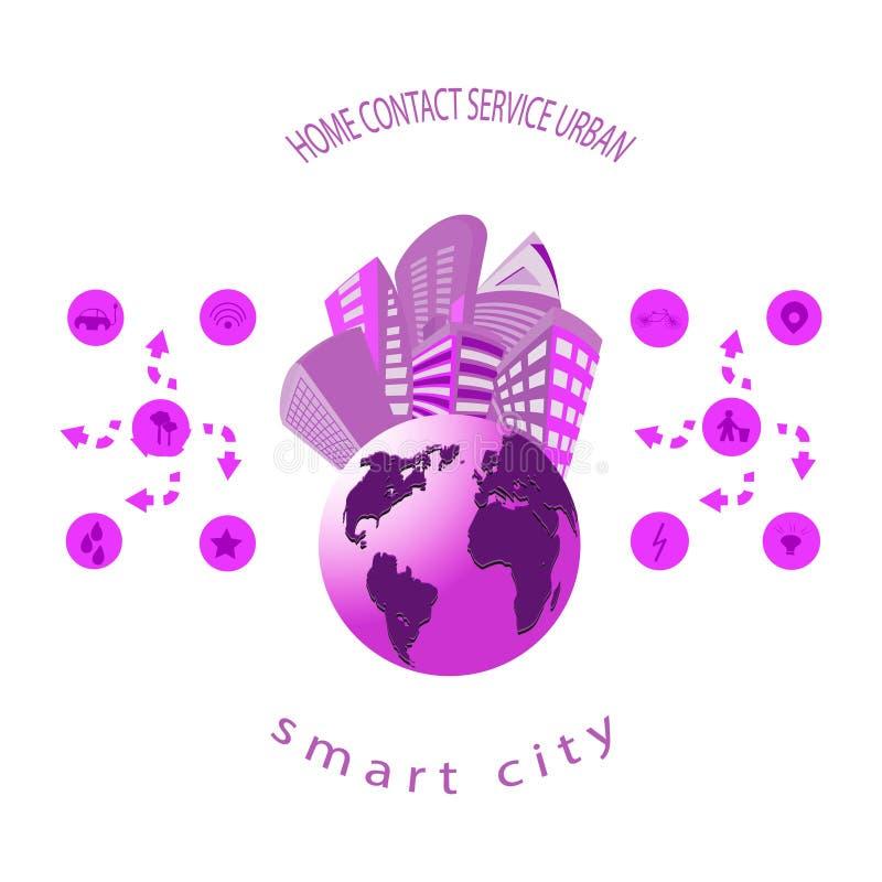 Smart stad med smart service och symboler, internet av saker, n?tverk och ?kat verklighetbegrepp vektor illustrationer