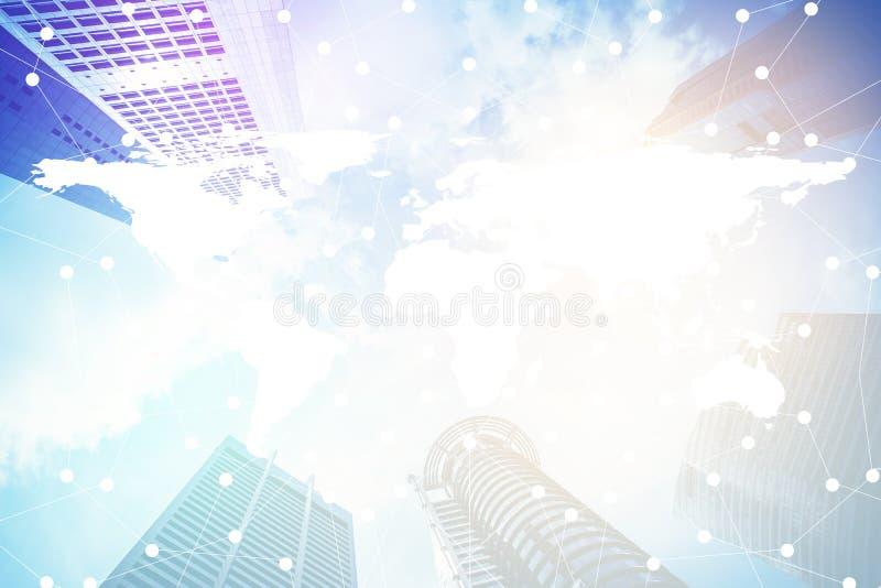 Smart stad och internet med nätverket - kommunikationsanslutning på modern stad royaltyfri foto