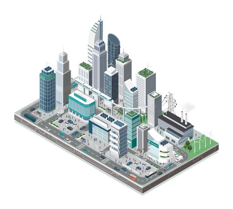 Smart stad och teknologi royaltyfri illustrationer