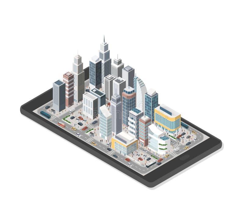 Smart stad på en smartphone stock illustrationer