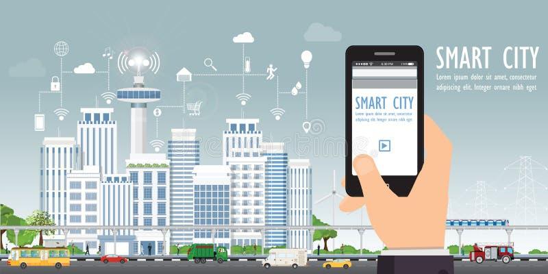 Smart stad på stads- landskap med handinnehavsmartphonen vektor illustrationer