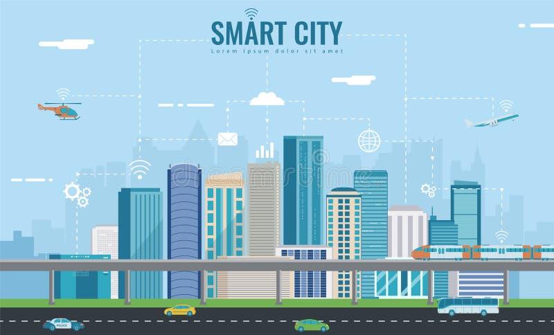 Smart stad Stads- landskap med infographic beståndsdelar modern stad Begreppswebsitetamplate vektor royaltyfri illustrationer