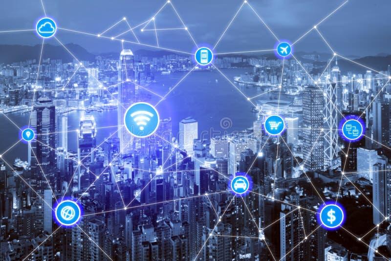 Smart stads- och radiokommunikationsnätverk, affärsområde royaltyfria foton