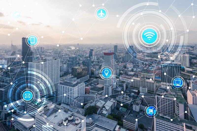 Smart stads- och radiokommunikationsnätverk, IoTInternet av T royaltyfri bild