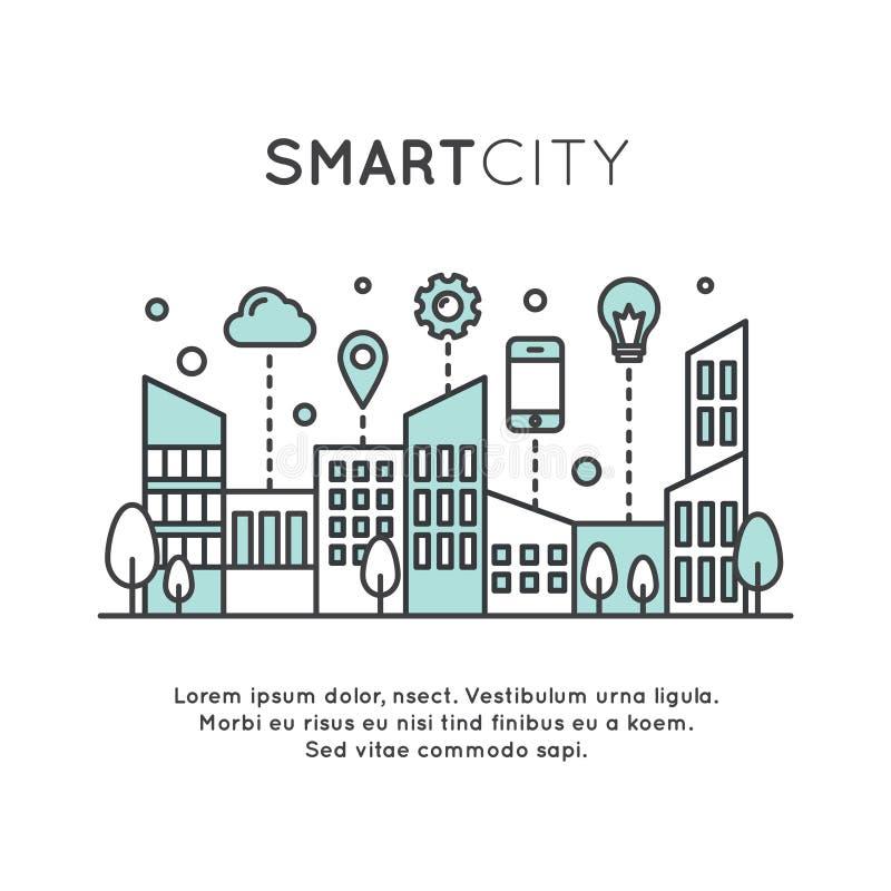 Smart stadsbegrepp stock illustrationer
