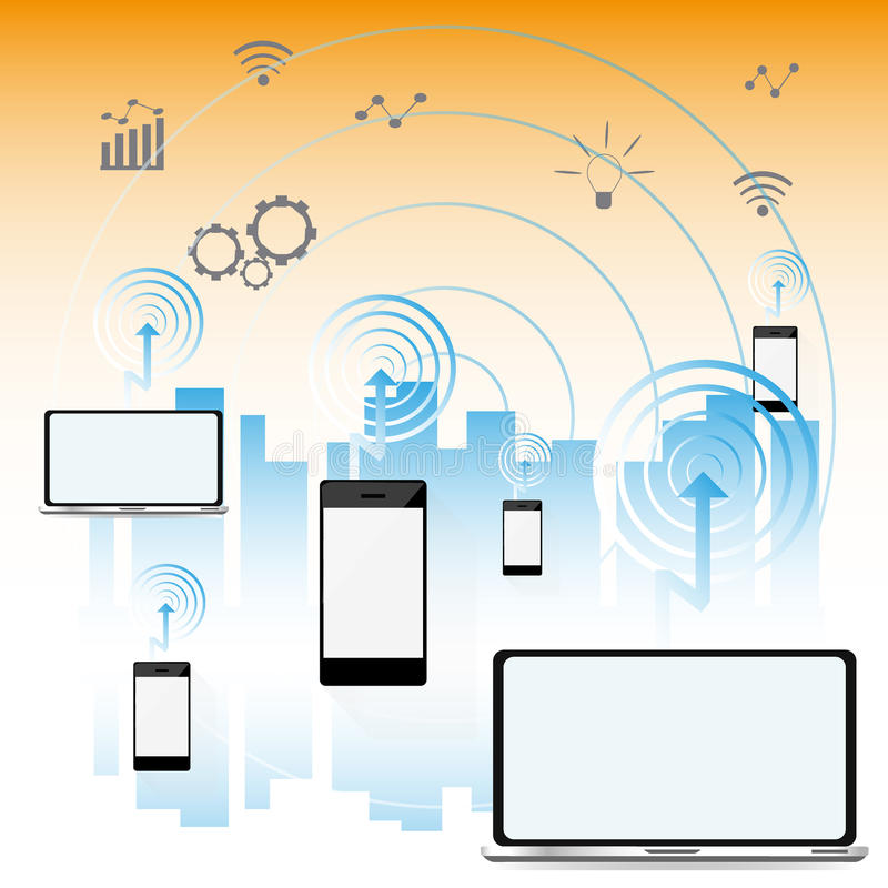 Download Smart Stadsbegrepp, Modern Stadsdesign Med Framtida Teknologi Vektor Illustrationer - Illustration av miljö, design: 78730395