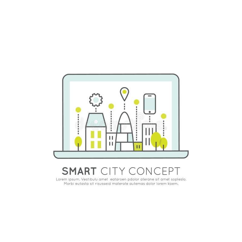 Smart stadsbegrepp och teknologi, en sidarengöringsduk eller mobilmallsammansättning med den Geo etiketten som bygger royaltyfri illustrationer