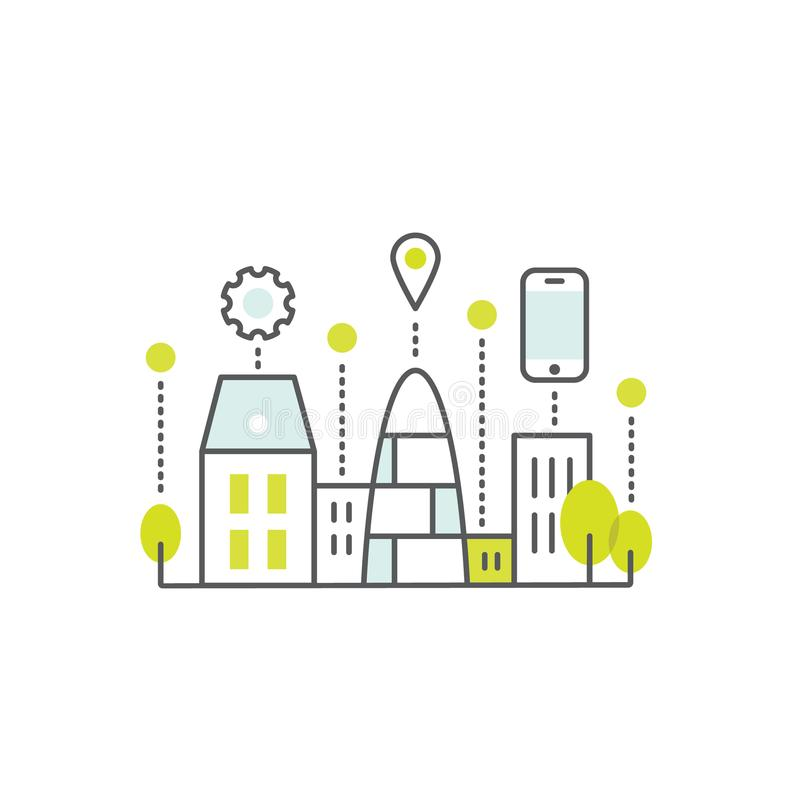 Smart stadsbegrepp och teknologi, en sidarengöringsduk eller mobilmallsammansättning med molnet, byggnader, apparater och Smart l vektor illustrationer