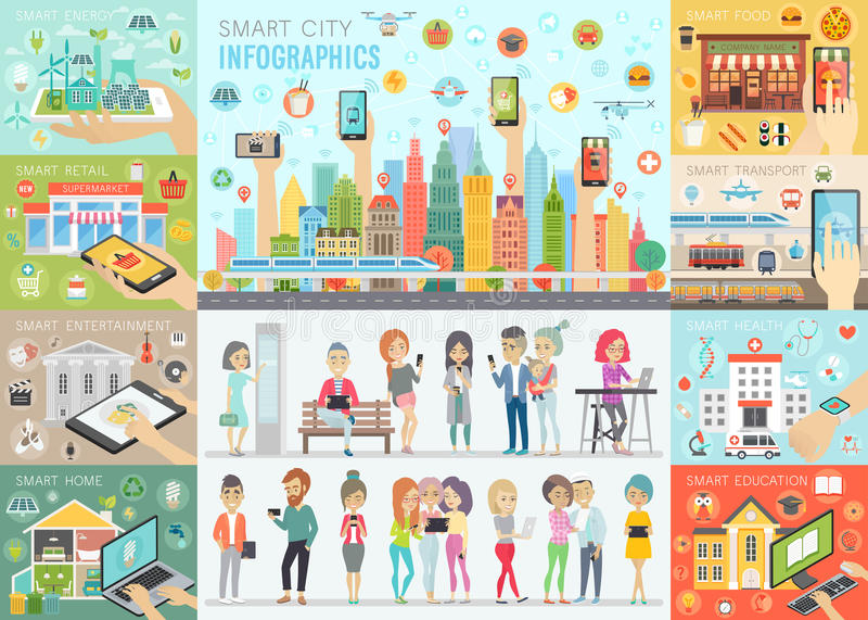 Smart stadsInfographic uppsättning med folk och andra beståndsdelar royaltyfri illustrationer