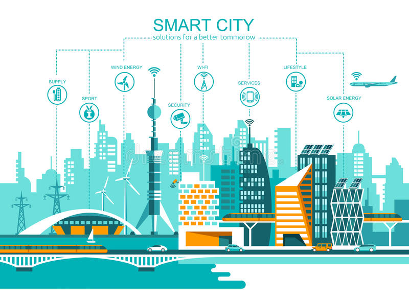 Smart stadslägenhet cityscapebakgrund med den olika symbolen och beståndsdelar modern arkitektur stock illustrationer