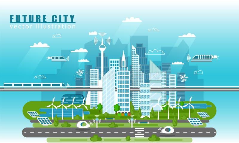 Smart stadslandskap av den framtida vektorbegreppsillustrationen i plan stil Stads- horisont för stad med modernt royaltyfri illustrationer