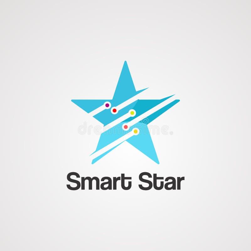 Smart stjärnalogovektor, symbol, beståndsdel och mall royaltyfri illustrationer