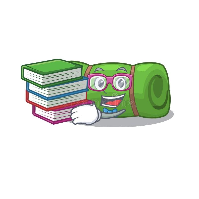 Smart Student camping mat Scroll mascot cartoon met boek royalty-vrije illustratie