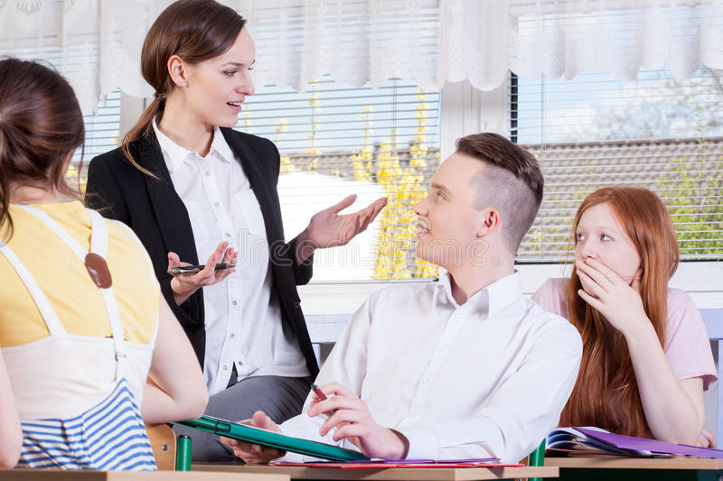 Download Smart Students And Their Teacher Stock Photo - Image: 43072958
