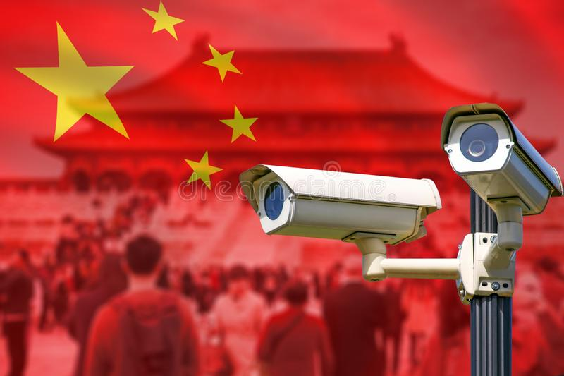 Smart surveillance CCTV cameras, spies people, track identify, no privacy concept stock photography