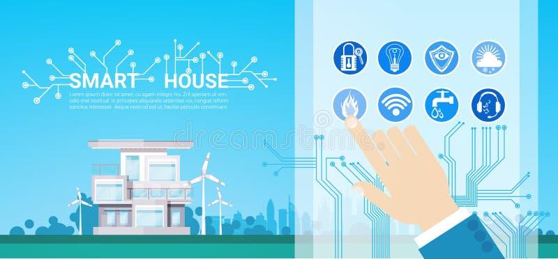 Smart symbol Infographic för system för husteknologikontroll med kopieringsutrymme stock illustrationer