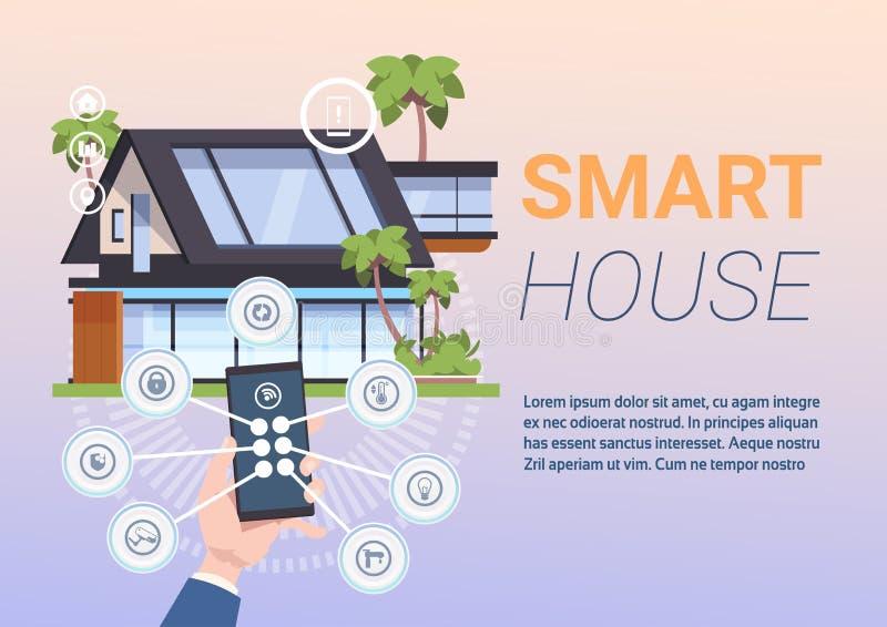 Smart system för hem- administration av kontroll med händer som rymmer Smartphone stock illustrationer