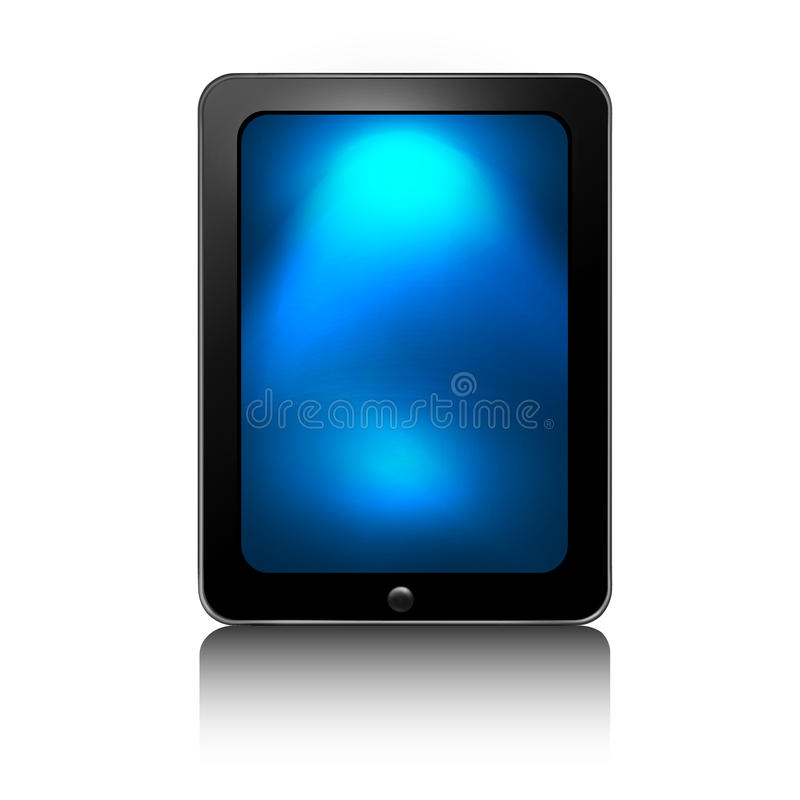 SMART TAB. Tab 3 illustration. Front view a tablet on white background. Black color. An additional Vector .Ai file available. (you can use elements separately stock illustration