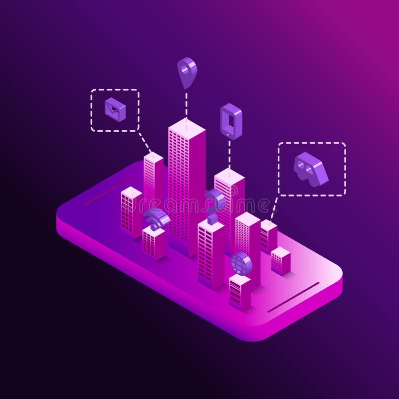 Smart technological city in your smartphone concept royalty free illustration