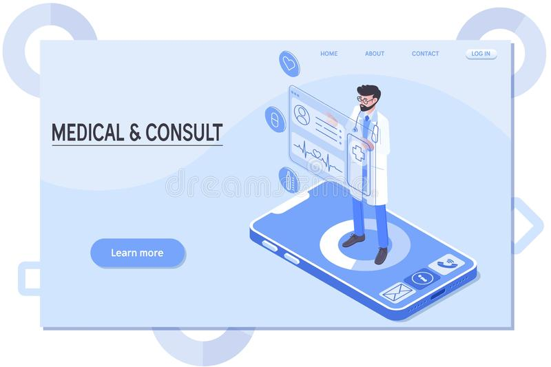 Smart technology in healthcare, doctor stays on phone, online medical consultation isometric vector. Illustration royalty free illustration