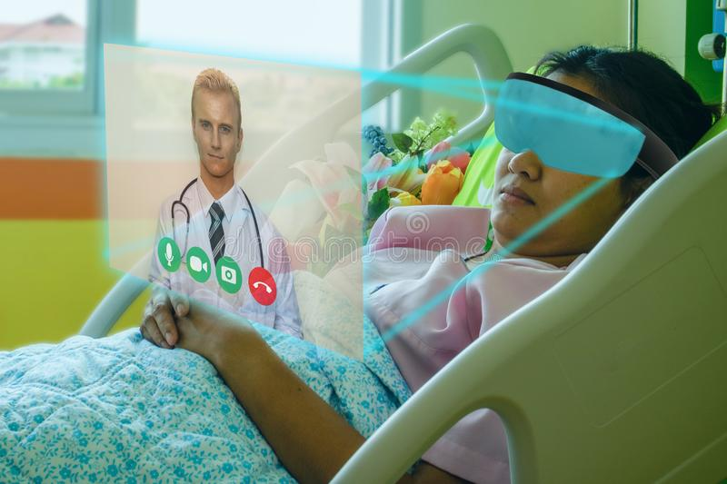 Smart technology in hospital concept, the patient use smart glasses with augmented mixed virtual reality technology to meeting onl stock photos