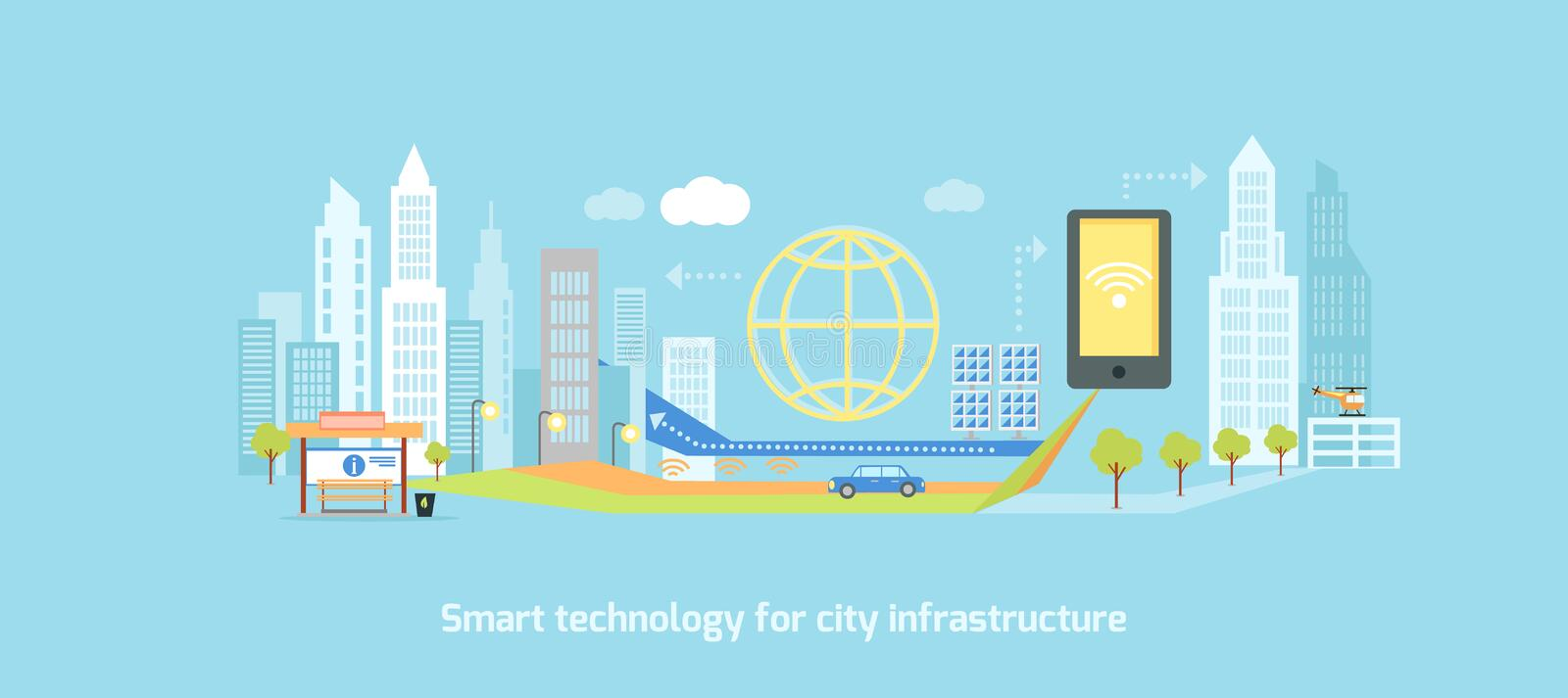 Smart Technology in Infrastructure of City. Smart technology in infrastructure of the city. Icon and network system, communication innovation town, connection vector illustration