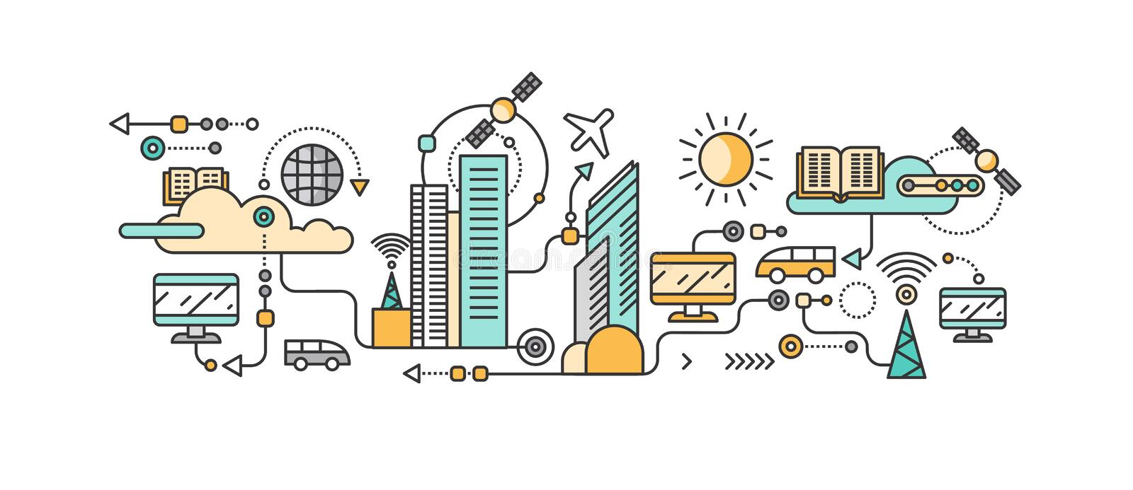 Smart Technology in Infrastructure of the City stock illustration
