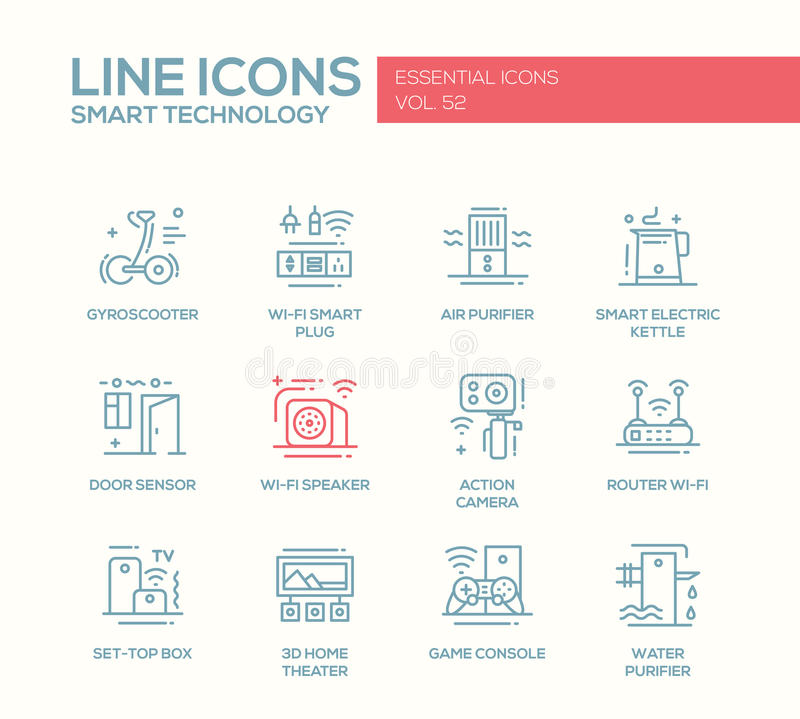 Smart Technology- line design icons set vector illustration