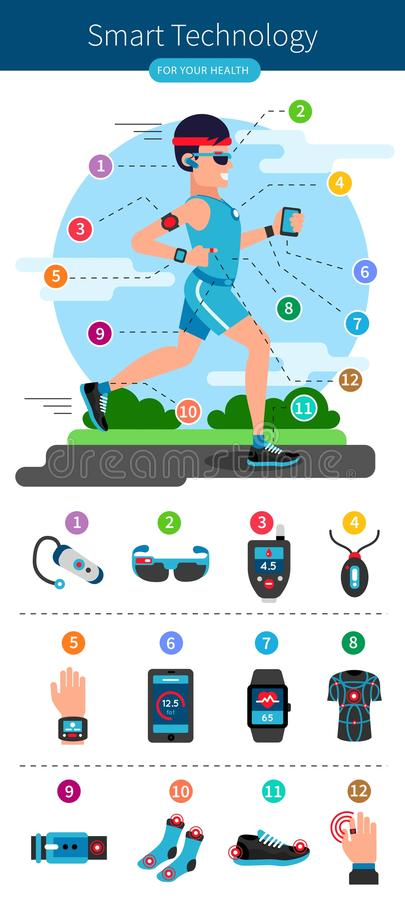 Smart Technology Line Infographic. With running man and smart electronic equipments on his body vector illustration stock illustration