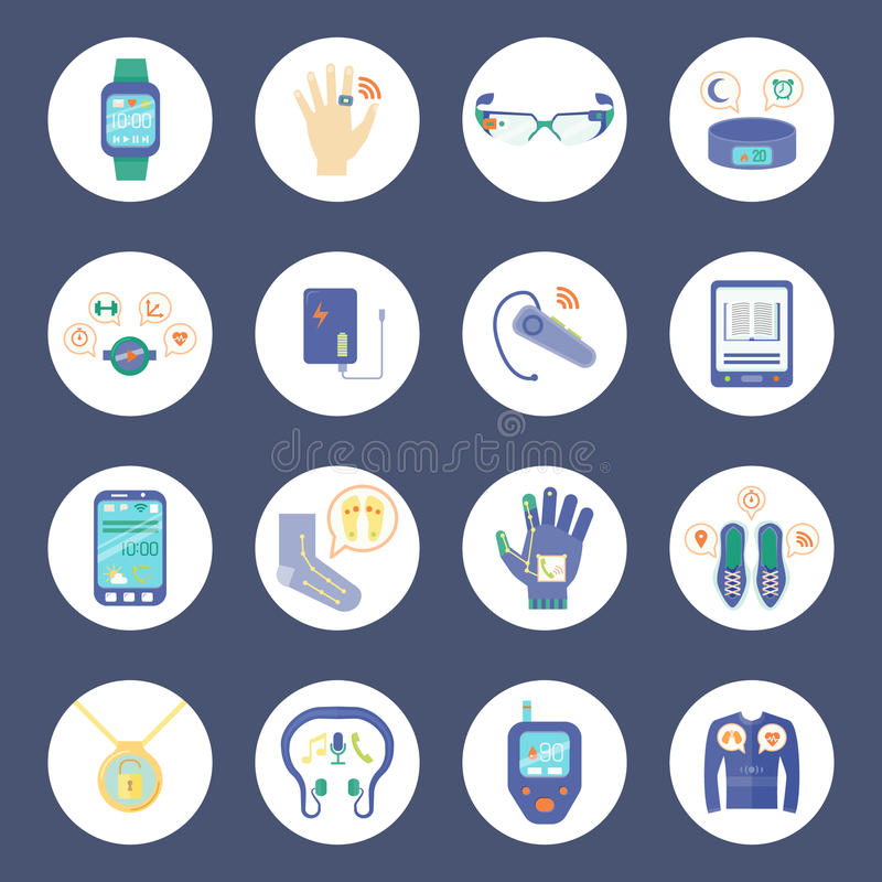 Smart Technology Round Icons Set. Wearable Technology Vector Illustration. Wearable Technology Gadgets Flat Symbols. Wearable Technology Gadgets Design Set royalty free illustration