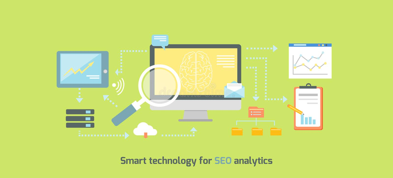 Smart Technology for SEO Analytics Icon Flat royalty free illustration
